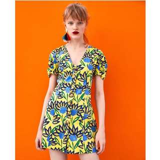 European and American style flower print V-neck single-breasted lining color short-sleeved dress