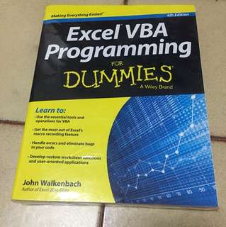 Excel VBA programming (for dummies) book