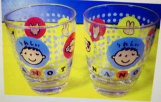 大口仔 絕版透明玻璃杯共2隻