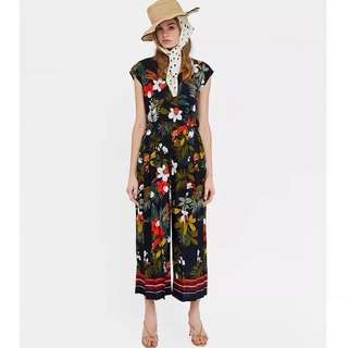 European Rainforest Print Pleated V-Neck Short Sleeve Back Zipper and Button-Closed Jumpsuit Trousers