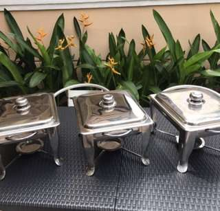 Rental of metal/ porcelain/ 7-in-1 chafing dishes for HALAL use only