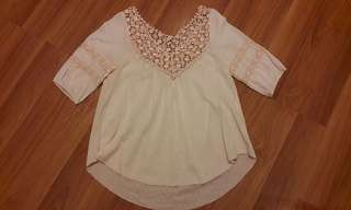 Nude Pink Cotton 3/4 Sleeves Top