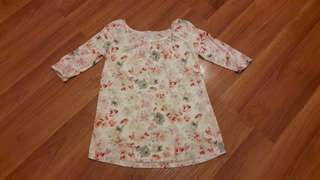 9Months Maternity Floral 3/4 Sleeves Top
