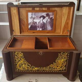 """Early 1900's Camphor Wood Bridal Steamer Hope Chest belonging to """"GILES JESSIE"""""""