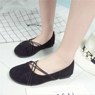 INSTOCK BN Black Suede Cross Lace Flats Shoe