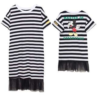 Mickey Stripe Dress with Mesh Mermaid Hem for Adults and Kids