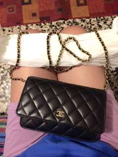 Classic Gold Chanel Lambskin Wallet on Chain