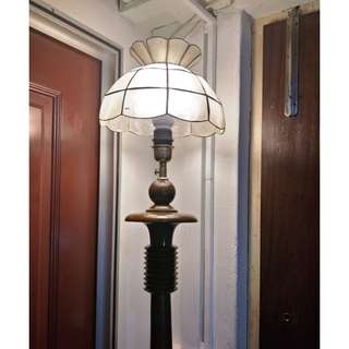 Rare old solid teakwood stand lights, round chassis and pillars are made of solid teakwood about 10 kg in weight, lampshade are made by clam shell cut and polished.