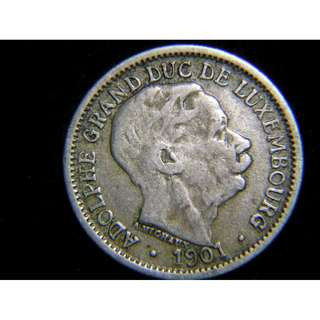 1901年盧森堡公國(Luxembourg)阿杜夫大公像10仙鎳幣