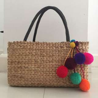 Native Basket Bag with Leather Handles