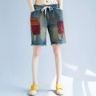 Straight pants tattered patch elastic waist tie casual jeans