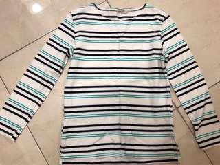 🚚 韓國製無印良品風綠米藍條紋長袖T恤