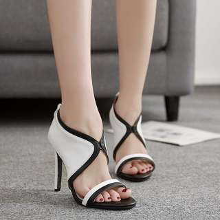 European and American fan black and white color PU leather sexy sandals