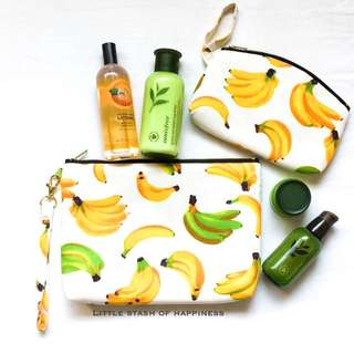 FREE NORMAL MAIL - 1 Set Multi purpose bags / pouches / fabric bags Banana Design