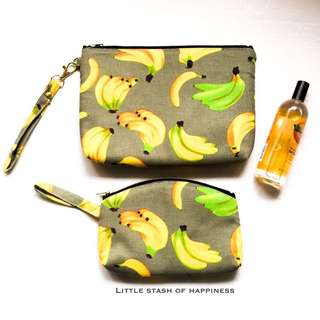 FREE NORMAL MAIL - 1 Set Multi-purpose bags / pouches Banana Design