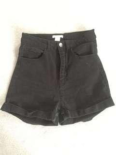 Black High Waisted Shorts- H&M