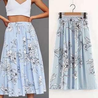 Sweet Floral Print Stripe Slim Skirt/Skirt Summer