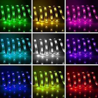 Battery Powered Led Strip Lights, Geekeep Waterproof RGB Led Strip Rope Lights with Remote,USB Cord and Bonus Roll Adhesive Tape (2m/6.56ft)