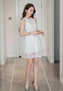 PO : Sizes Available From S To L. Super Sweet And Classy Korean Style Sleeveless Lace Skater/Flare/A Line White Dress