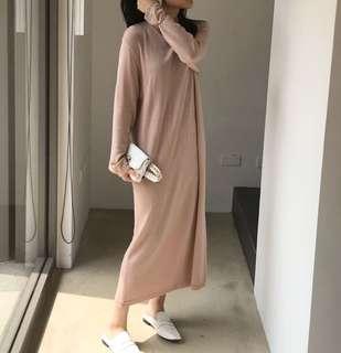 🚚 Studiodoe後開衩壓線粉色針織洋裝