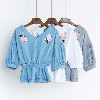 Instock Floral Embroidery Waist Blouse (Free Mailing)