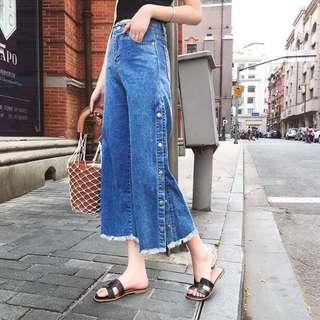 (L~4XL) 2018 summer loose side open wide leg jeans pants
