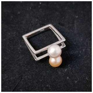 珍珠方型戒指 淡水珍珠 珠寶首飾