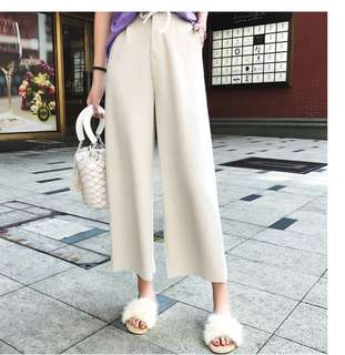 (L~4XL) 2018 summer wild lace high waist nine points wide leg pants casual pants