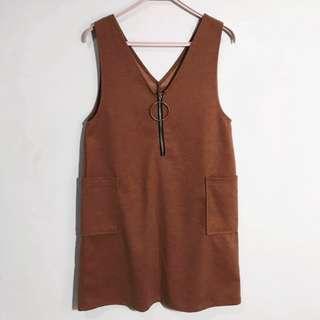 🚚 棕色金屬圓環吊帶裙 咖啡色