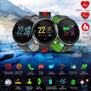 Wireless Bluetooth Heart Rate Monitor Smart Watch  Waterproof Support Blood Pressure Oxygen for IOS Android