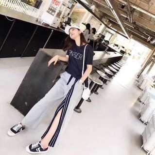 🚚 #超美地~整套修閒褲裝~上衣+開衩長褲 單一色~SM 2碼 🧚♀️🧚♀️1套$1880/💃韓