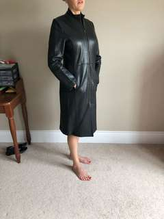Real Leather Long coat with zippers