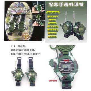 7 in 1 Walkie Talkies Watch for Kids with Clock Magnifier Compass Reflector & Night Light Set of 2
