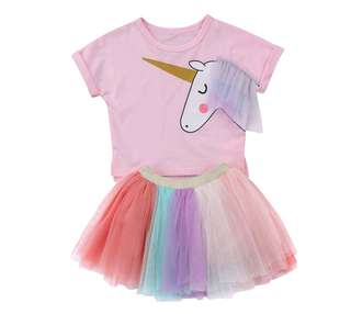 2 pcs Baby Girl Unicorn T-shirt with Tutu Skirts (FOC Unicorn Headwear)