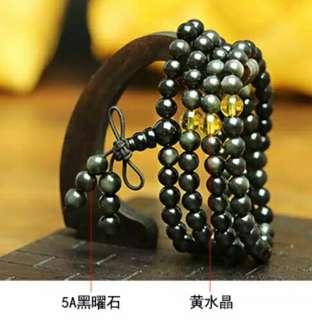 🚚 天然5A彩虹眼黑曜石配黃水晶款手鏈108顆6mm佛珠多圈手鏈
