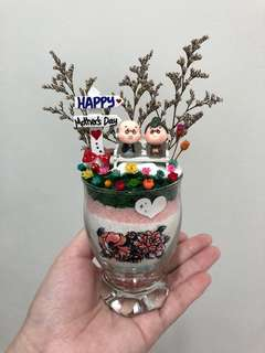 ❤️SALE!! Happy Mother's Day Sweet Adorable Loving Elderly Old Couple Frozen Flowers Cute Terrarium Deco Glass Cup Made with Love