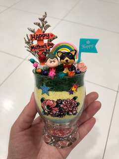 ❤️SALE!! Happy Mother's Day Sweet Adorable Ah Ma Grandma with Black Dog Puppy Frozen Flowers Cute Terrarium Deco Glass Cup Made with Love