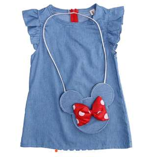 Baby Girl Mickey Mouse Denim Dress with Mickey Sling Bag