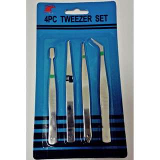 4-Piece Beading & Jewelry Tool, Tweezer Set Assorted
