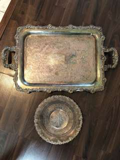 Silver Serving Tray and Plate