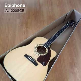 Acoustic/Electric Guitar - Epiphone AJ-220SCE, Rosewood Neck, Natural