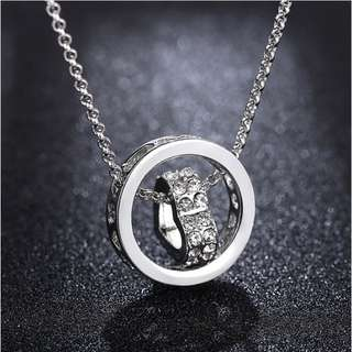 necklace with heart ring crystal pendant