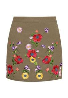 Green floral embroidered mini skirt
