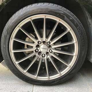 5 x 114.3 x 18 Dual PCD 5 x 100 x 18 offset 35 Rims + Yokohama Advan Sport Tyres 225/45/18