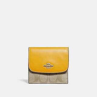 Coach F87589 粉藍色/黃色拼經典3摺短銀包