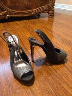 Peep toe silver and grey heels