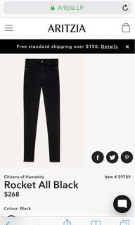 Citizens of Humanity Rocket Jean Black Size:25