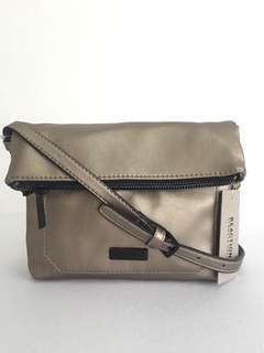 New! Kenneth Cole Reaction Gretchen Mini  Crossbody Bag (Polished Nickel)