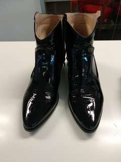 Black patent cowboy style boots