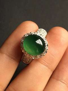 12.3/11/7.2mm HQ icy blue water Jadeite Ring Cabochon